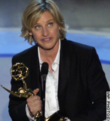 AP Photo of Ellen DeGeneres accepting her Emmy award.
